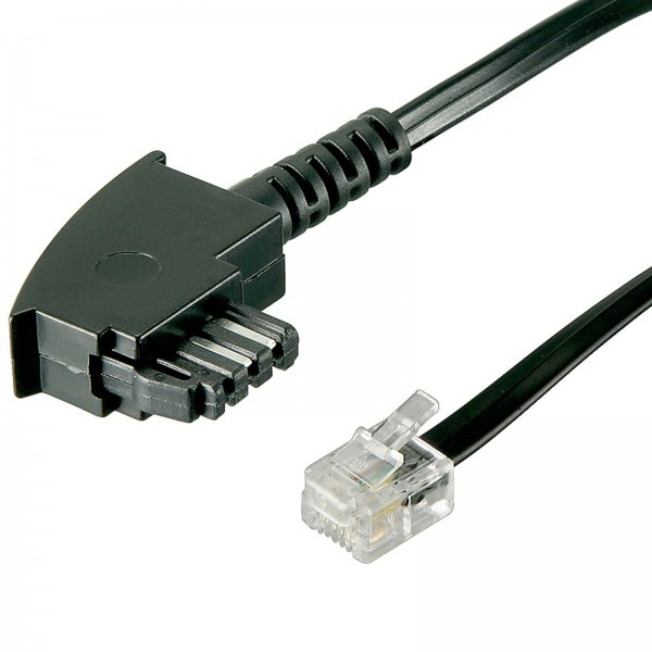 6m Telefon-Kabel TAE F St. > RJ11 Stecker 6P4C internationale Belegung 4-polig