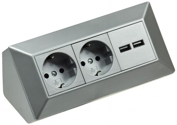 Delphi 2fach Steckdosenblock + 2*USB silber 250V 16A Aufbaumontage 45° Werktisch