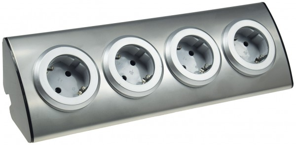 4 fach Steckdosenblock aus Edelstahl Mehrfachstecker Steckdosenleiste Aufbau 45°