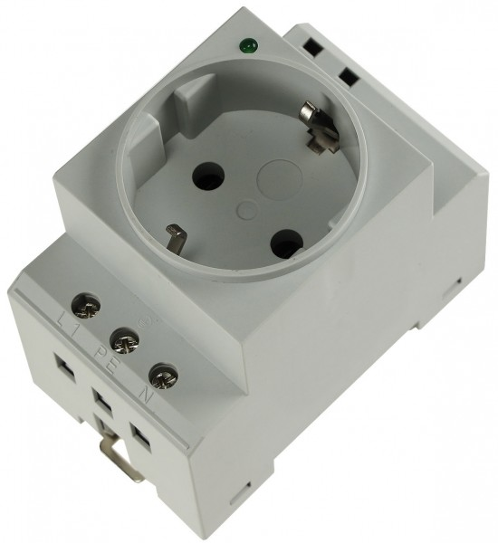 1 Stück Steckdose mit LED für Hutschiene Zählerschrank Einbausteckdose 230V 16A