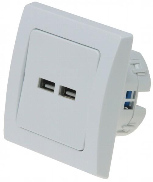 DELPHI 2-fach USB-Ladedose weiß 250V~/ 16A UP 5V insgesamt max. 2A