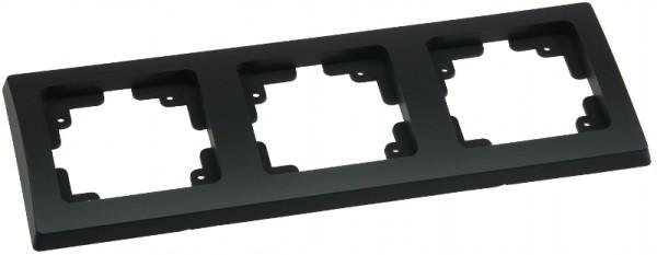 DELPHI 3-fach Rahmen matt-schwarz für Steckdose Schalter Dimmer Taster usw.