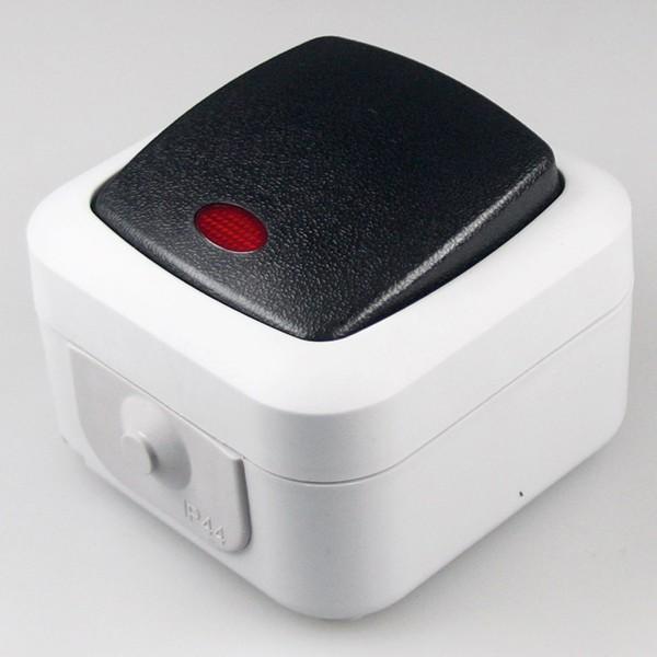 1* Feuchtraum Kontroll-Schalter IP44 250V~ 10A inklusive Aufputz Rahmen grau