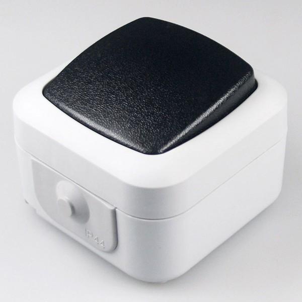 1* Feuchtraum Wechsel-Schalter IP44 250V~ 10A inklusive Aufputz Rahmen grau