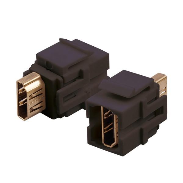 Keystone Modul HDMI Buchse Gender Changer schwarz SNAP-IN Adapter Verbinder