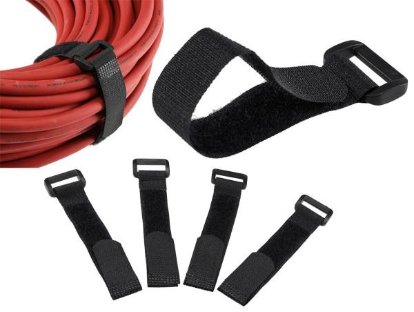 5er Set Klettband Klettkabelbinder Klettbänder Kabelbinder 15*2cm schwarz + Öse