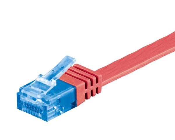 0,5m CAT 6a Patchkabel Flachkabel 500MHz U/UTP 2xRJ45 Netzwerk Kabel rot 0,5 m