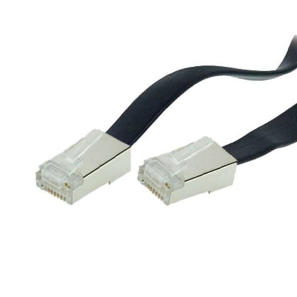 3m ISDN Telefon Anschluß Kabel 2*RJ45 Western Stecker 8/8 flach 8-adrig schwarz