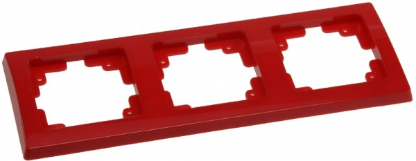 DELPHI 3-fach Rahmen rot für Steckdose Wechsel-Schalter Dimmer Taster usw.