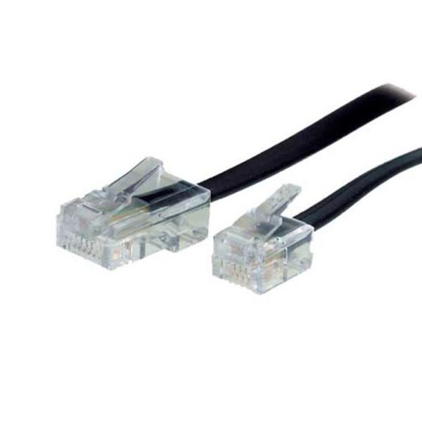 3m Telefon Kabel RJ12 Western Stecker 6/6 > ISDN RJ45 St. 8/6 schwarz DSL NTBA