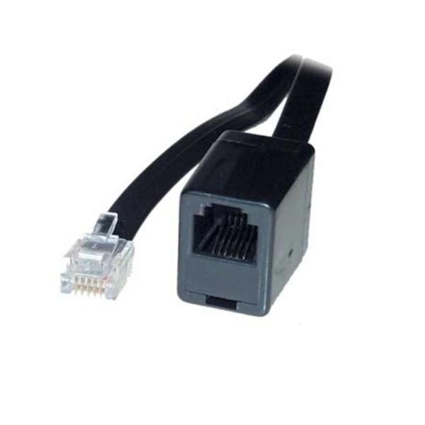 10m ISDN Telefon Kabel Verlängerung schwarz RJ45 8/4 Western Stecker > Kupplung