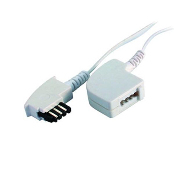 15m TAE F Telefon Verlängerung Kabel weiß TAE-F Stecker > TAE-F Kupplung Buchse