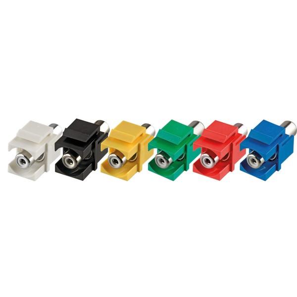 Keystone Modul Cinch Buchse Gender Changer grün SNAP-IN Adapter Verbinder