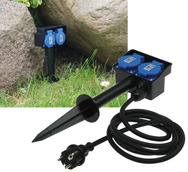 2-fach Gartensteckdose IP44 + Erdspieß 250V 16A Kabel 1,4m Deckel Schutzkontakt