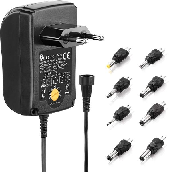 Universal Stecker Netzteil 1500mA 3V 4,5V 5V 6V 7,5V 9V 12V 18W 8 Adapter PS025