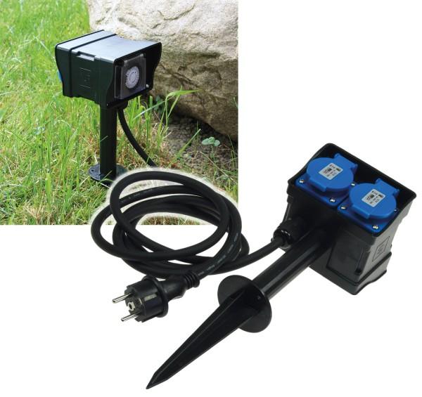 2-fachGartensteckdose mit Erdspieß Outdoor IP44 10m Kabel Zeitschaltuhr Timer