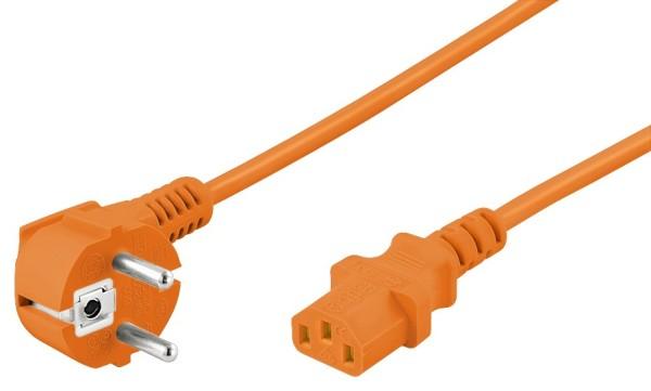 5m Strom PC Netzkabel abgewinkelter Stecker > Buchse Kaltgeräteanschluss orange