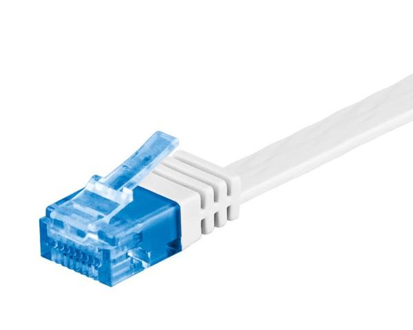 1m CAT 6a Patchkabel Flachkabel 500MHz U/UTP 2xRJ45 Netzwerk Kabel weiß 1 m
