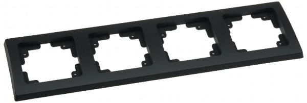 DELPHI 4-fach Rahmen matt-schwarz für Steckdose Schalter Dimmer Taster usw.