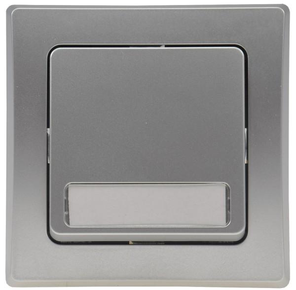 DELPHI Türklingel Taster + Namensschild 250V~ 10A mit Rahmen UP silber Unterputz
