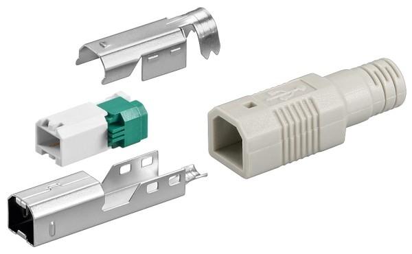 1 Stück USB 2.0 B-Stecker zur werkzeugfreien Crimp Montage inklusive Tülle