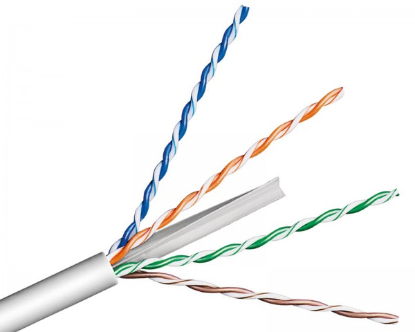 100m ---€/m CAT6 Verlegekabel Spule AWG23 grau Netzwerk DSL LAN starr solid