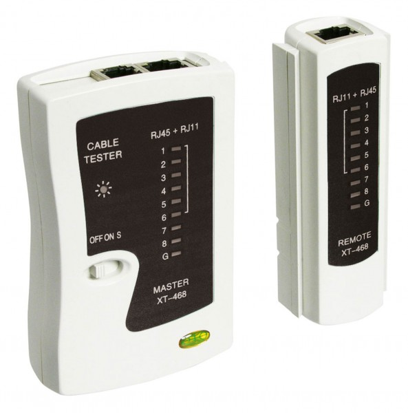 Goobay® Netzwerktester Leitungstester für RJ11 RJ12 RJ45 ISDN CAT5 CAT6 LED 9V