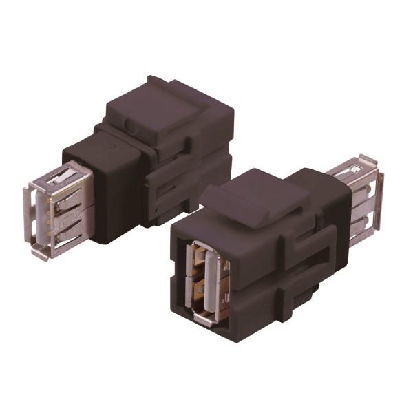 Keystone Modul USB 2.0 A Buche Gender Changer schwarz SNAP-IN Adapter Verbinder