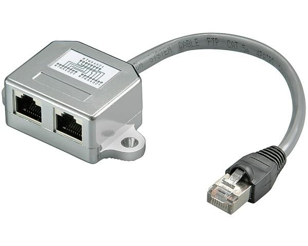 CAT T-Adapter 2x ISDN Y-Adapter Verdoppler RJ45 Splitter Portdoppler Ethernet