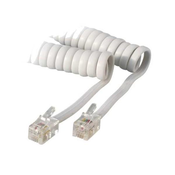 4m Telefonhörer Spiral Kabel 2* RJ10 Western Stecker 4/4 weiß weiss Telefon