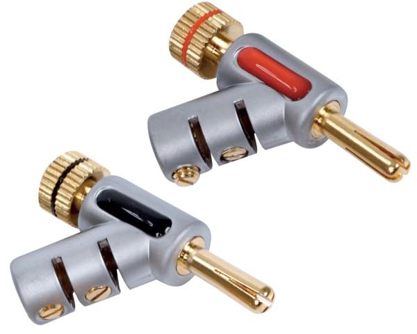 2* Banana Stecker 2* Bananenstecker Metall High End Plug gewinkelt 48° max. 7mm