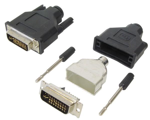 DVI Stecker 24+5 Plastik schwarz Lötversion Schraube für Bastler Selbstmontage